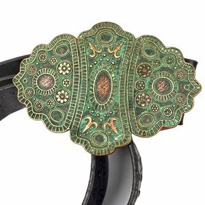H&M Tooled Leather Belt with Belt Buckle Scalloped